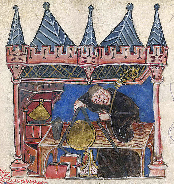 Miniature of Richard of Wallingford, Abbot of St. Albans, mathematician and inventor of a mechanical astronomical clock. He is shown seated at his desk measuring with a pair of compasses.